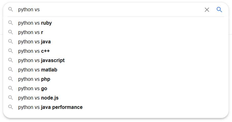 """A """"python vs ..."""" Google search query"""
